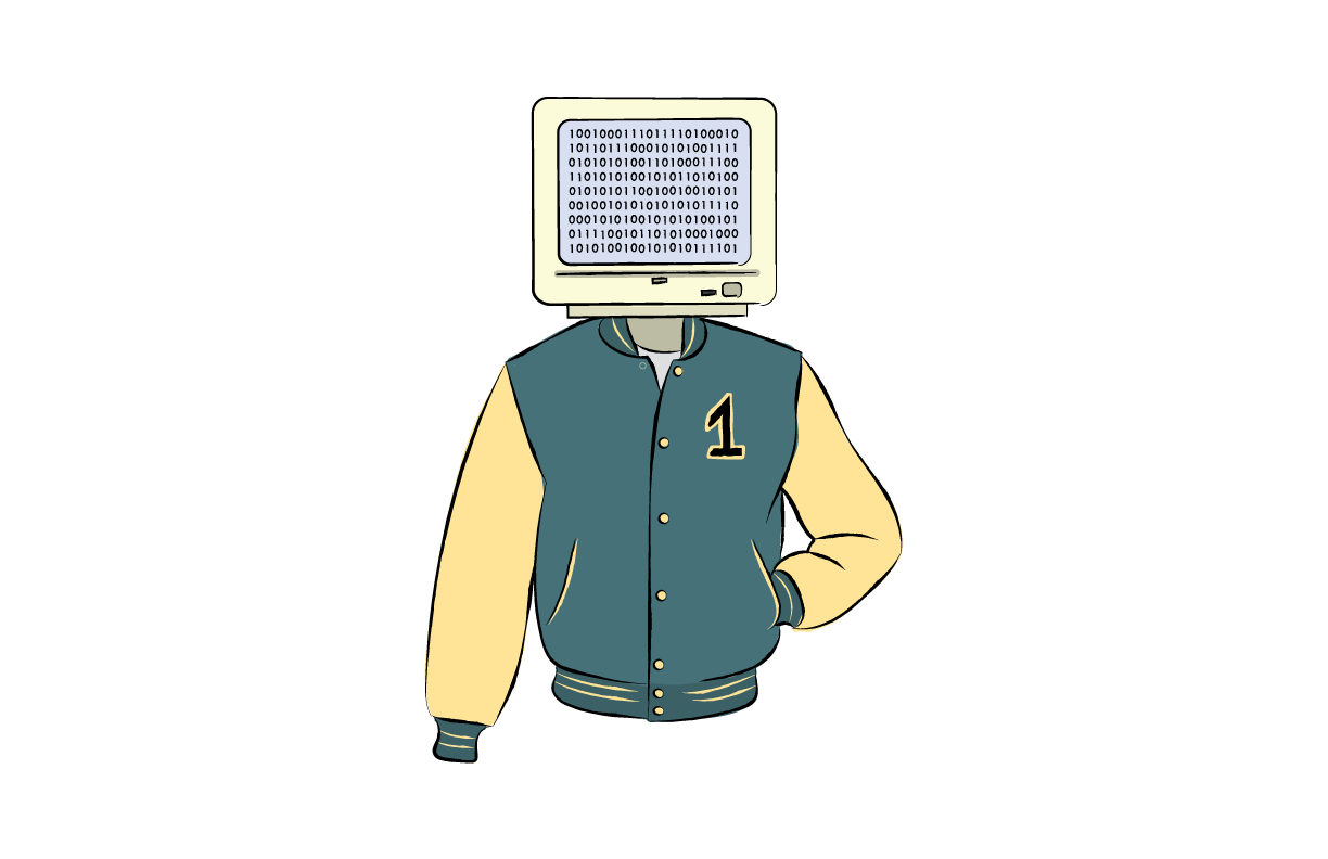 Simon wearing letterman with head as computer screen